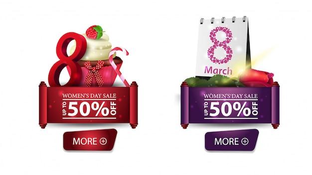 Dois banners de desconto para o dia da mulher com botões, bolinho e rosa