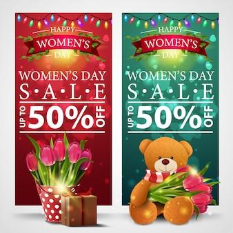 Dois banners de desconto para o dia da mulher com guirlanda