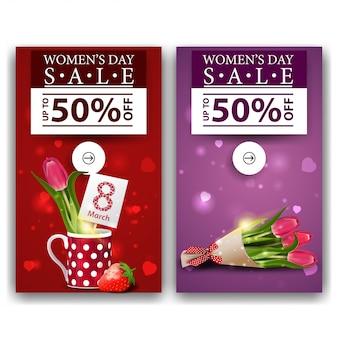 Dois banners de desconto para o dia da mulher com tulipas