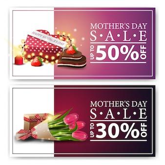 Dois banners de desconto para o dia das mães