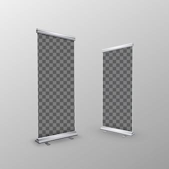 Dois banners de enrolar realista em branco com lugar transparente para anunciar o cartaz