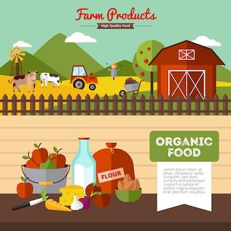 Dois banners de fazenda horizontal com alimentos orgânicos e capoeira em ilustração vetorial de estilo simples