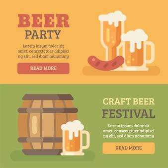 Dois banners de festa de cerveja colorida
