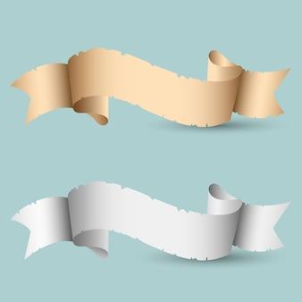 Dois banners de fita de papel vintage com sombra