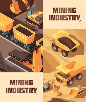 Dois banners de mineração verticais com imagens isométricas de caminhões