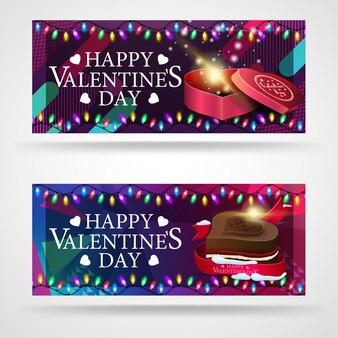Dois banners de saudação modernos para dia dos namorados com chocolates em forma de corações