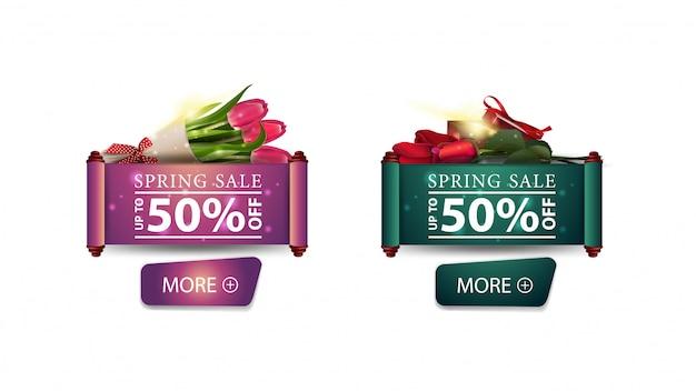 Dois banners de venda de primavera moderna com rosas