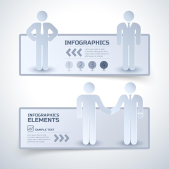 Dois banners horizontais de infográfico de negócios em estilo minimalista sobre relações com parceiros de negócios