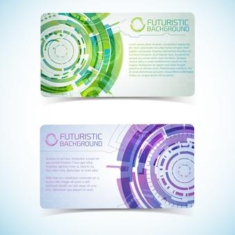 Dois banners horizontais de tecnologia virtual moderna com elementos gradientes roxos e verdes e espaço para texto