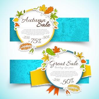 Dois banners horizontais multicoloridos de outono e venda com texto em grandes rodadas