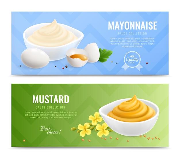 Dois banners horizontais realistas de mostarda com descrições de coleção de molho de mostarda e maionese