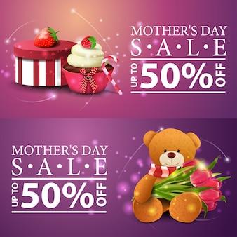 Dois banners modernos de desconto para o dia das mães