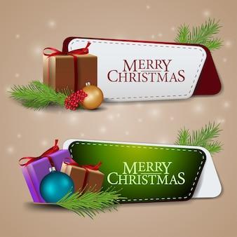 Dois banners modernos de natal com presentes