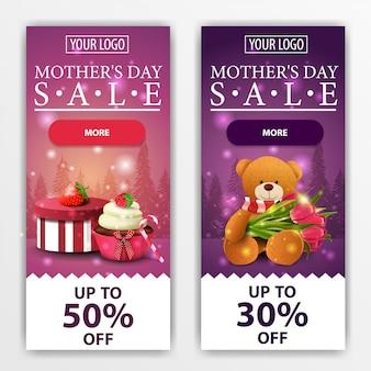 Dois banners modernos verticais de desconto para o dia das mães