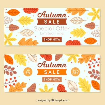 Dois banners promocionais bonitos para o outono