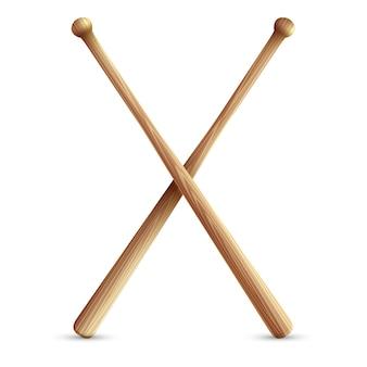 Dois bastões de beisebol de madeira cruzados.