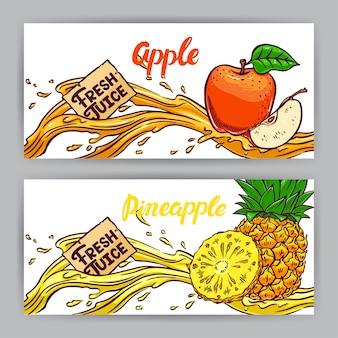 Dois belos banners horizontais. suco fresco. maçã e abacaxi. ilustração desenhada à mão