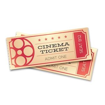 Dois bilhetes realistas do cinema ou do teatro com código de barras. admita agora cupons para entrada de pares. conceito de vetor