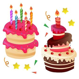 Dois, bolo aniversário, com, vela, cima
