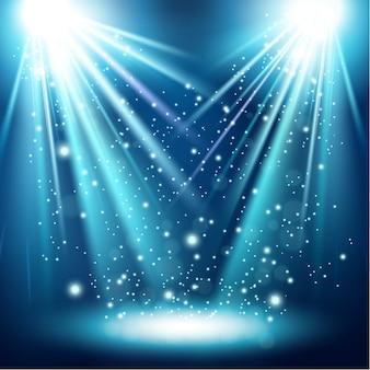 Dois brilhante luz azul com floco de neve caindo