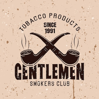 Dois cachimbos cruzados vector emblema vintage com texto clube de fumantes de cavalheiros