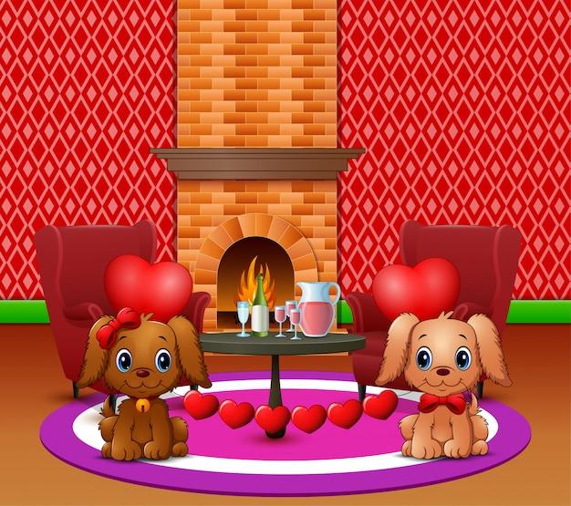 Dois cães mordem balões de coração em uma sala de estar romântica