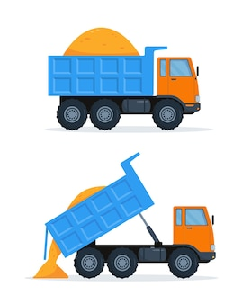 Dois caminhões basculantes laranja com corpo azul fechado e aberto com areia.