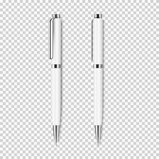 Dois caneta realista branca em transparente