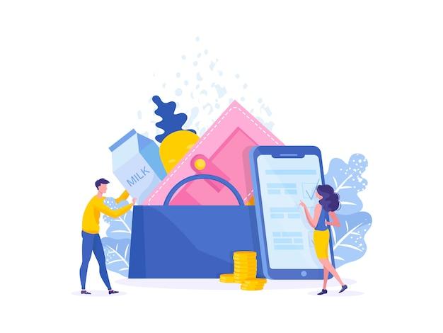 Dois caracteres compram tecnologia de compras on-line