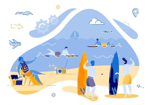 Dois caras estão em pé na praia planejamento de surf