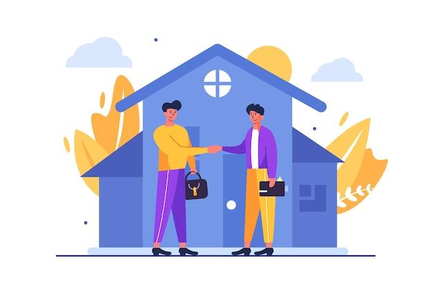 Dois caras fazendo um acordo por meio de aperto de mão para comprar uma casa isolada no fundo branco, plana