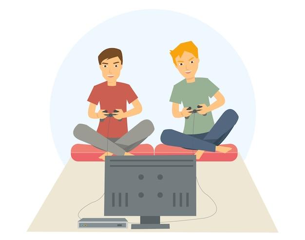Dois caras jogando jogos na sala de estar