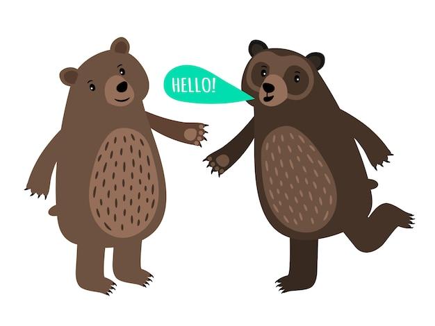 Dois, caricatura, ursos, com, bolha fala