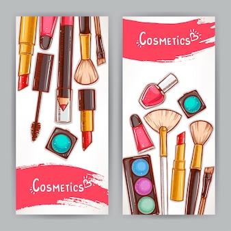 Dois cartões com cosméticos decorativos