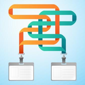 Dois cartões de identificação de plástico em branco com fitas laranja e azul