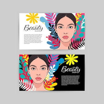 Dois cartões de visita para salão de beleza com retrato de uma jovem mulher atraente.