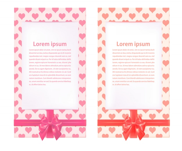 Dois cartões modelo bonito com laços vermelhos. feliz dia dos namorados. ilustração vetorial