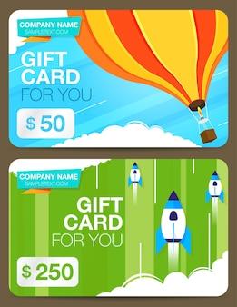Dois cartões-presente ou cartões de desconto com design colorido