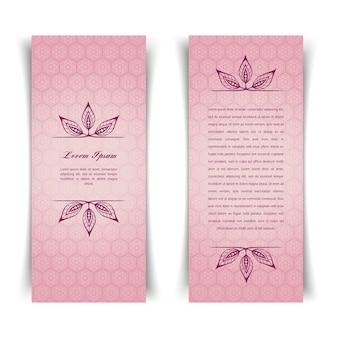 Dois cartões rosa vintage verticais com elementos florais