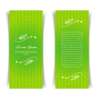 Dois cartões verdes vintage verticais com elementos florais