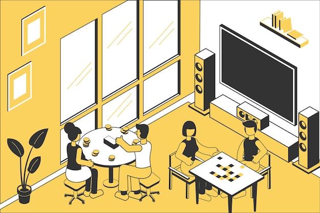 Dois casais jogando jogos de tabuleiro com vista interior de canto de sala isométrica com aparelho de home cinema
