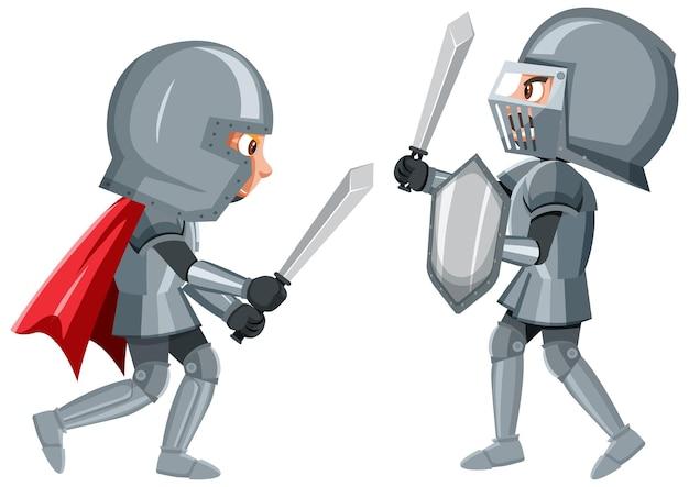 Dois cavaleiros estão lutando em um fundo branco