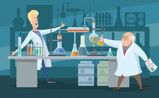 Dois cientistas no laboratório, ilustração de cor dos desenhos animados. os cientistas se alegram com a descoberta. existem muitos tubos de ensaio em laboratório