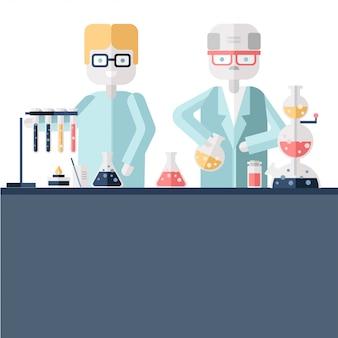 Dois cientistas químicos em jalecos brancos em um laboratório científico. homem e mulher fazem experimentos químicos com substâncias em tubos de ensaio e frascos. ilustração.