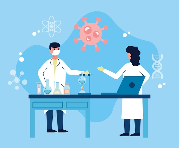 Dois cientistas trabalhando em laboratório com pesquisas de vacinas para laptop