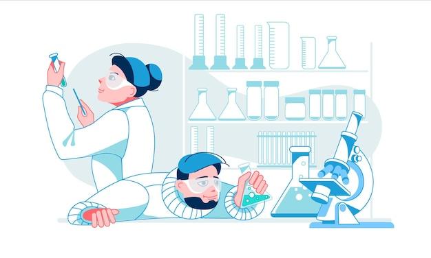 Dois cientistas trabalhando no laboratório homem e mulher experimentam fazendo experimentos químicos
