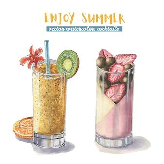Dois cocktails de verão em aquarela
