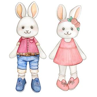 Dois coelhinhos aquarela pastel com roupas de primavera