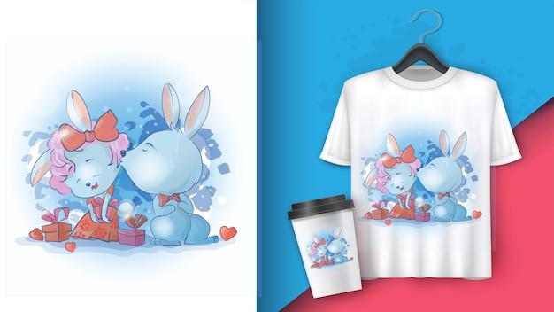 Dois coelhos e coelhinhos. bunny beija um coelho na bochecha. em torno de caixas de presente.