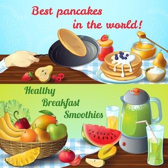 Dois conceitos coloridos de café da manhã com títulos: melhores panquecas e smoothies saudáveis para o café da manhã